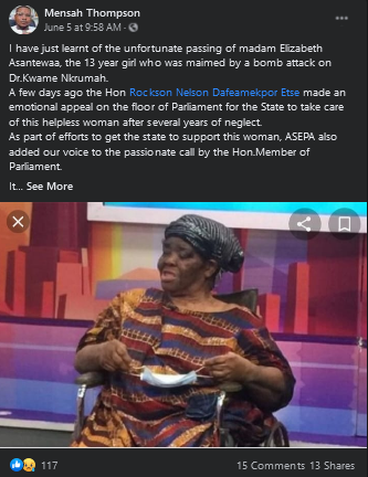 The woman who lost her leg in Nkrumah's bomb attack dies 2